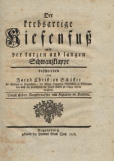 Der krebsartige Kiefenfuss mit der kurzen und langen Schwanzklappe beschrieben. cz. 01