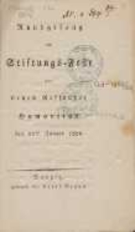 Rundgesang am Stiftungs-Feste der neuen Ressource Humanitas : den 15 ten Januar 1826