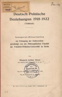 Deutsch-Polnische Beziehungen 1918-1932 : (Teildruck) : Inaugural-Dissertation