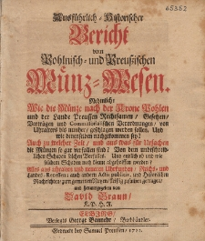 Ausführlich-Historischer Bericht vom Pohlnisch- und Preussischen Münz-Wesen [...]