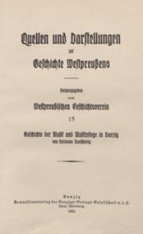 Geschichte der Musik und Musikpflege in Danzig : von den Anfängen bis zur Auflösung der Kirchenkapellen / von Hermann Rauschning