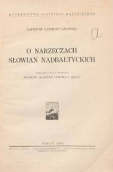 O narzeczach Słowian nadbałtyckich