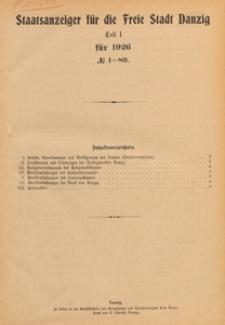 Staatsanzeiger für die Freie Stadt Danzig. Teil 1, 1926.01.04 nr 1