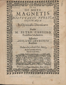 De Motu Magnetis Dispvtatio Pvblica Ordinaria