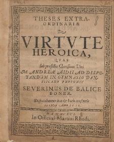 Theses Extraordinariæ De Virtute Heroica