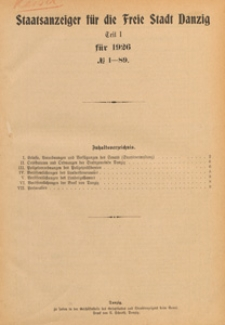 Staatsanzeiger für die Freie Stadt Danzig. Teil 1, 1931.03.07 nr 19