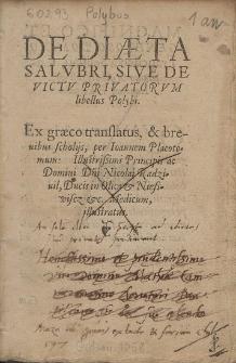 De Diæta Salvbri, Sive De Victv Privatorvm Libellus Polybi