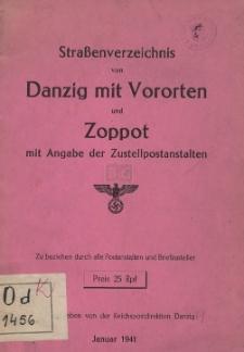 Straßenverzeichnis von Danzig mit Vororten und Zoppot mit Angabe der Zustellpostanstalten