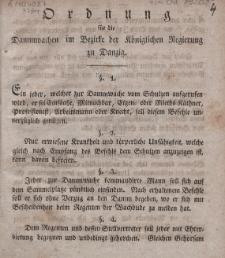 Ordnung für die Dammwachen im Bezirke der Königlichen Regierung zu Danzig