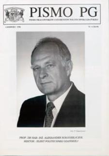 Pismo PG : pismo pracowników i studentów Politechniki Gdańskiej, 1996, nr 6 (Czerwiec)