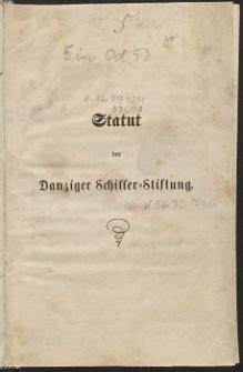 Statut der Danziger Schiller-Stiftung