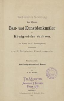 Beschreibende Darstellung der älteren Bau- und Kunstdenkmäler des Königreichs Sachsen. H. 15. Amtshauptmannschaft Borna