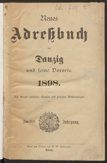 Neues Adreßbuch für Danzig und seine Vororte 1898