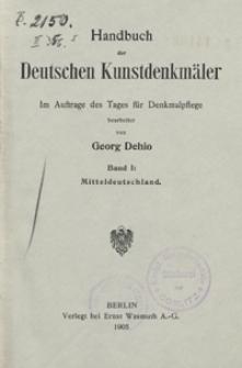 Handbuch der Deutschen Kunstdenkmäler. Bd.1