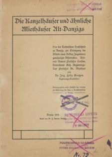 Die Kanzelhäuser und ähnliche Miethäuser Alt-Danzigs