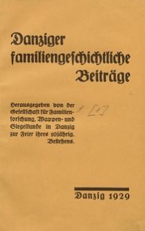 Danziger familiengeschichtliche Beiträge. H. 1