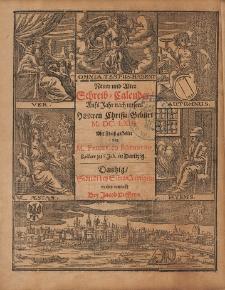 New und Alter Schreib Calender Auffs Jahr nach unsers Herrn Christi Geburt [...] 1663