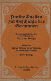 Antike Quellen zur Geschichte der Germanen. T. 2, Von den Anfägen bis zur Niederlage der Timbern und Teutonen