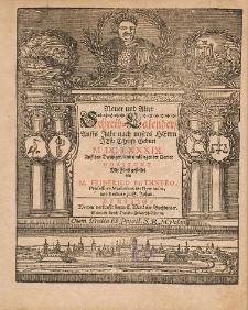 New und Alter Schreib Calender Auffs Jahr nach unsers Herrn Christi Geburt [...] 1689