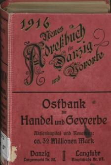 Neues Adreßbuch für Danzig und seine Vororte 1916