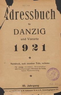 Adreßbuch für Danzig und Vororte 1921