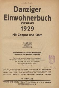 Danziger Einwohnerbuch : mit allen eingemeindeten Vororten und Zoppot 1929