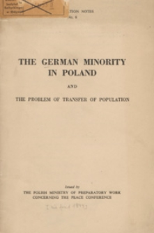 The German minority in Poland and the problem of transfer of population