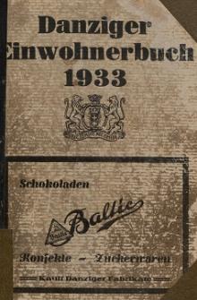 Danziger Einwohnerbuch : mit allen eingemeindeten Vororten und Zoppot 1933