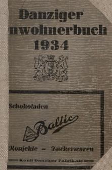 Danziger Einwohnerbuch : mit allen eingemeindeten Vororten und Zoppot 1934