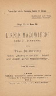 Lirnik mazowiecki : szkic literacki