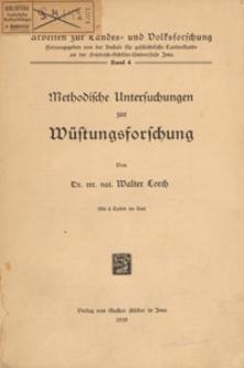 Methodische Untersuchungen zur Wüstungsforschung