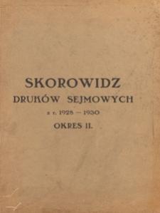 Skorowidz druków sejmowych z r. 1928-1930