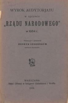 """Wyrok audytorjatu w sprawie """"Rządu narodowego"""" w 1864 r."""