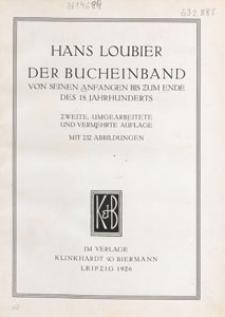Der Bucheinband von seinen Anfängen bis zum Ende des 18. Jahrhunderts