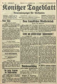 Konitzer Tageblatt.Amtliches Publikations=Organ, nr224