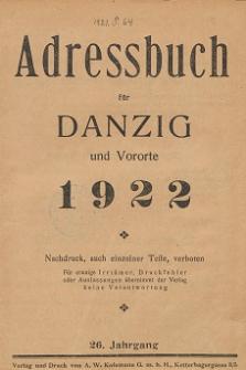 Adreßbuch für Danzig und Vororte 1922