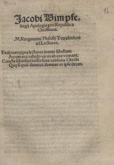 Jacobi Wimpfelingij Apologia pro Republica Christiana