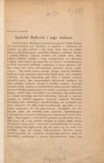 Instytut Bałtycki i jego zadania
