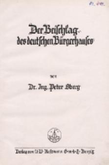 Der Beischlag des deutschen Bürgerhauses
