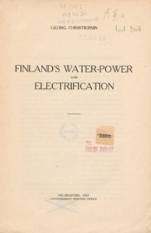 Finland's water-power and electrification