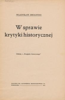 W sprawie krytyki historycznej