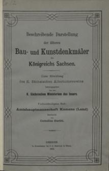 Beschreibende Darstellung der älteren Bau- und Kunstdenkmäler des Königreichs Sachsen. H. 35. Amtshauptmannschaft Kamenz (Land)