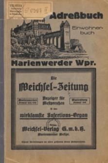 Adreßbuch der Stadt Marienwerder, Westpreußen mit Verzeichnis der Behörden, Handel- und Gewerbetreibenden, Straßen für das Jahr 1926