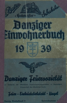 Danziger Einwohnerbuch : mit allen eingemeindeten Vororten und Zoppot 1939