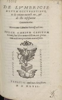 De Lvmbricis Alvvm Occvpantibvs, ac de ratione curandi eos, qui ab illis infestantur Commentarius