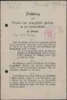 Satzung des Vereins für evangelische Freiheit in der Landeskirche zu Danzig