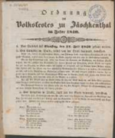 Ordnung des Volksfestes zu Jäschkenthal im Jahre 1840