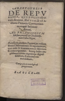 Aristotelis De Repvblica, Qvi Politicorum dicuntur, libri VIII