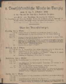 8. Deutschkundliche Woche in Danzig : vom 2. bis 7. Oktober 1928 in den Räumen der Technischen Hochschule Langfuhr