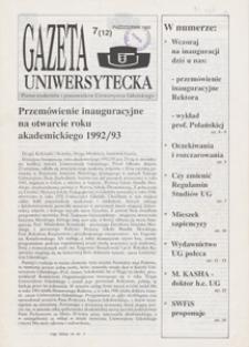 Gazeta Uniwersytecka, 1992, nr 7 (12)
